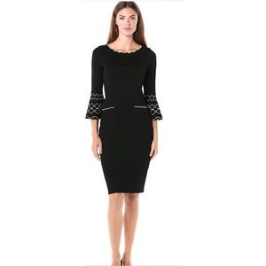 Gabby Skye 3/4 Bell Sleeve Sheath Sweater Dress